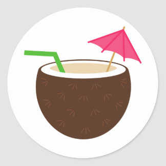 Tropical Coconut Drink Round Stickers