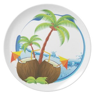 Tropical Coconut Party Plate