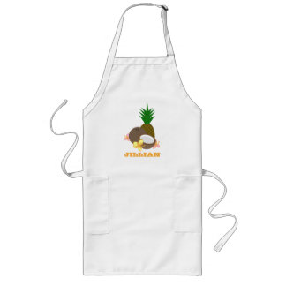 Tropical Coconut Pineapple Hibiscus Long Apron
