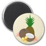 Tropical Coconut Pineapple Hibiscus Magnet