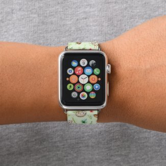 Tropical Coconut Sloth Pattern Apple Watch Band