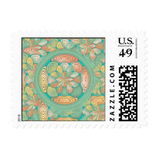 Tropical color abstract postage