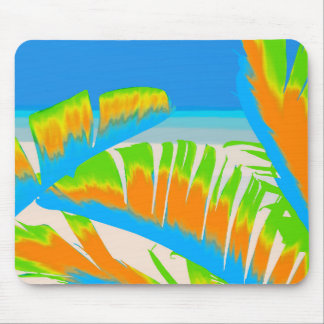 Tropical Colored Banana Leaves Design Mouse Pad