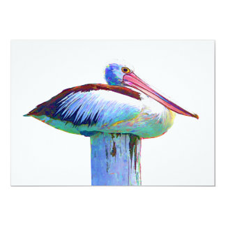 Tropical Colored Pelican Card