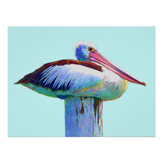 Tropical Colored Pelican Poster