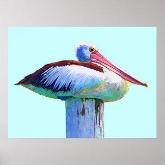 Tropical Colored Pelican Print
