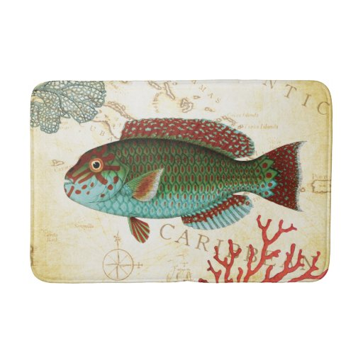 Turquoise Bath Rugs For Dry The Feet Simple Turquoise: Tropical Colorful Caribbean Fish And Coral Bathroom Mat