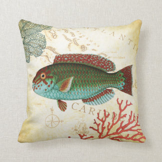 Tropical Colorful Caribbean Fish and Coral Pillow