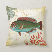 Tropical Colorful Caribbean Fish and Coral Throw Pillow