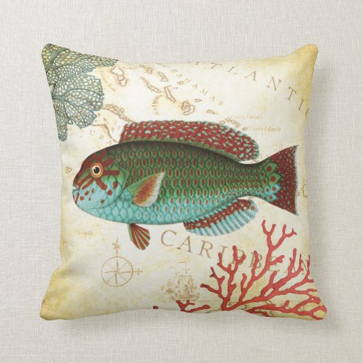Tropical colorful caribbean fish and coral throw pillow for Fish throw pillows
