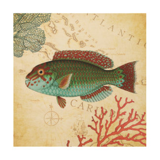 Tropical Colorful Caribbean Fish and Coral Wood Wall Art