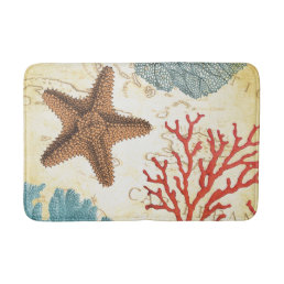 Tropical Colorful Caribbean Starfish and Coral Bathroom Mat