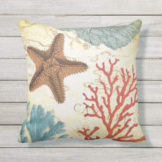 Tropical Colorful Caribbean Starfish and Coral Outdoor Pillow