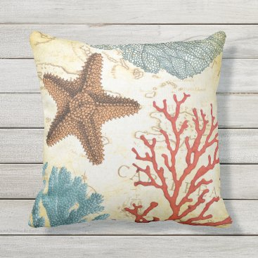 Beach Themed Tropical Colorful Caribbean Starfish and Coral Outdoor Pillow