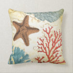 "Tropical Colorful Caribbean Starfish and Coral Throw Pillow<br><div class=""desc"">Add this colorful nautical inspiration to your beach theme decor.  Features a teal and red Haeckel illustration parrot fish,  red and green coral and a vintage Caribbean map.  Available in a variety of fish and other products too.</div>"
