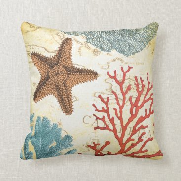 Beach Themed Tropical Colorful Caribbean Starfish and Coral Throw Pillow