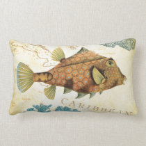 Tropical Colorful Caribbean Yellow Fish and Coral Lumbar Pillow