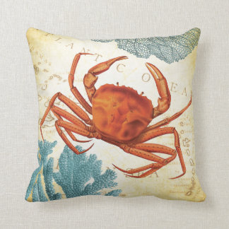 Tropical Colorful Red Crab and Coral Throw Pillow