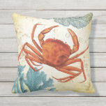 "Tropical Colorful Red Crab and Coral Throw Pillow<br><div class=""desc"">Add this colorful nautical inspired pillow to your beach theme decor.  Features a Haeckel illustration red crab,  blue and green coral and a vintage Caribbean map.  Available in a variety of fish and other products too.</div>"