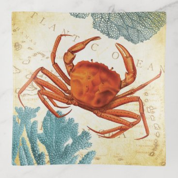 Beach Themed Tropical Colorful Red Crab Coral Trinket Trays