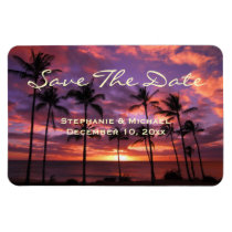 "Tropical Colorful Sunset ""Save The Date"" Magnet"