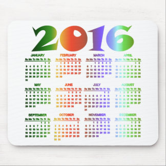 Tropical Colors 2016 Calendar Mouse Pad