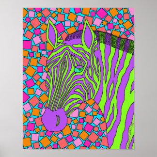 Tropical Colors Zebra Art 11 x 14 Print