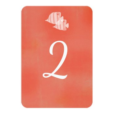 Beach Themed Tropical cora fish wedding table number card