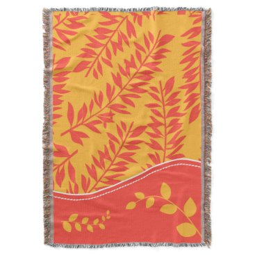 Beach Themed Tropical Coral and Golden Yellow Leafy Stems Throw Blanket