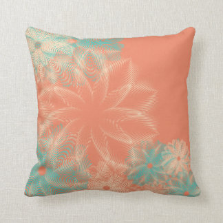 Tropical Coral and Teal Abstract Floral Throw Pillow
