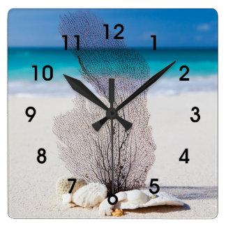 Tropical Coral Beach Wall Clock
