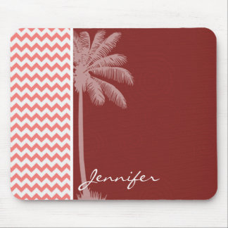 Tropical Coral Chevron Mouse Pad