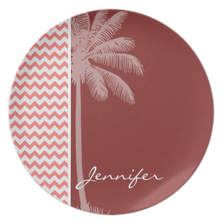 Tropical Coral Chevron Party Plate
