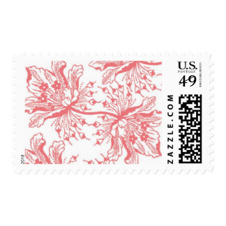 Tropical Coral Flowers Postage