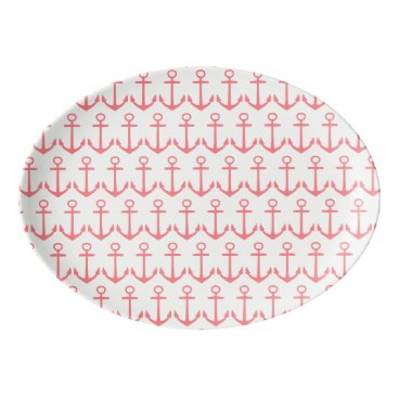 Beach Themed Tropical Coral Pink Anchors on White Porcelain Serving Platter