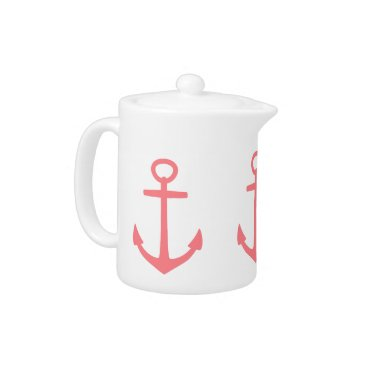 Beach Themed Tropical Coral Pink Anchors on White Teapot