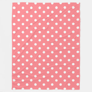 Tropical Coral Pink and White Polka Dot Fleece Blanket