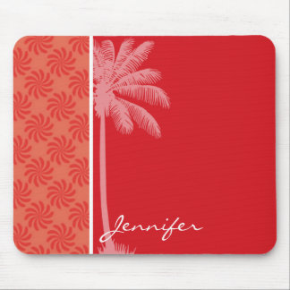 Tropical Coral & Red Swirl Mouse Pad