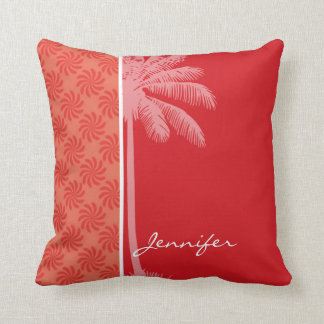 Tropical Coral Red Swirl Throw Pillow
