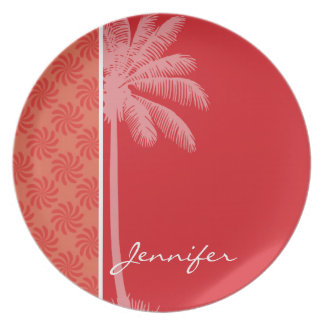 Tropical Coral & Red Swirl Plate