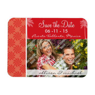 Tropical Coral & Red Swirl Rectangle Magnets