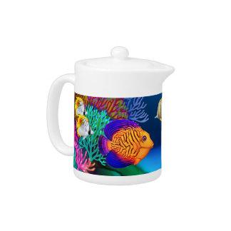Tropical Coral Reef Aquarium Fish Teapot