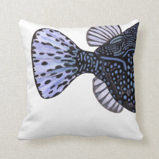 Tropical coral reef fish Blue Boxfish Throw Pillows