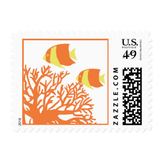 Tropical Coral Reef Wedding Postage