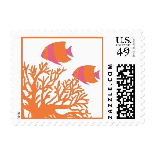 Tropical coral reef wedding postage for Paris orange card