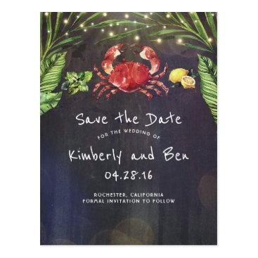 Beach Themed Tropical Crab and Palm Lights Save the Date Postcard