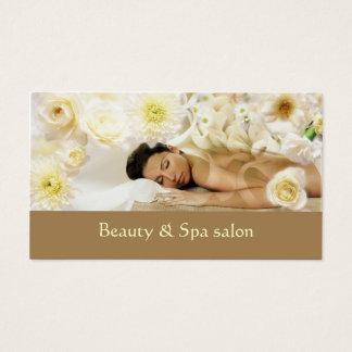 Tropical Creamy Flower Spa Resort Business Card