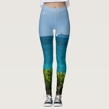 Beach Themed Tropical Cruise Ship Leggings