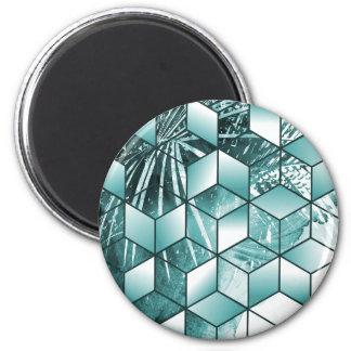 Tropical Cubic Effect Palm Leaves Design Magnet