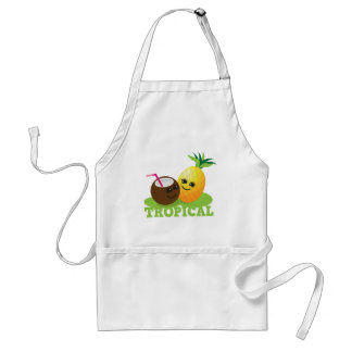 TROPICAL cute Kawaii Coconut and pineapple Adult Apron